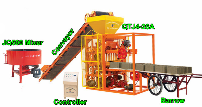 QTJ4-26 A Semi automatic concrete block making machine