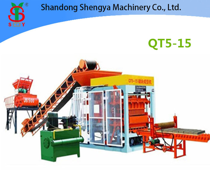 QT5-15 Full automatic hydraulic concrete block production line for cement blocks and interlocking bricks