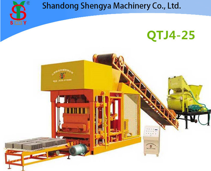 QT4-25 Semi automatic concrete brick machine